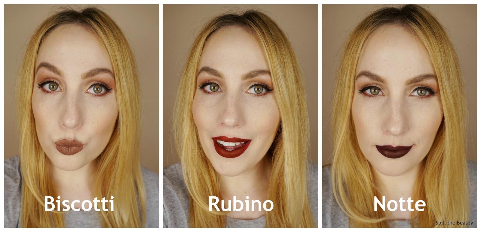 stila stay all day liquid lipstick review swatches biscotti rubino notte
