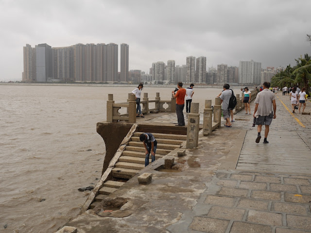 Stone railing destroyed by Typhoon Hato at Lovers' Road in Zhuhai