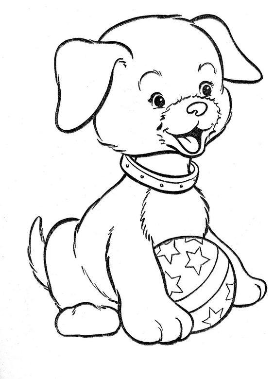 Hình tô màu con chó và quả bóng