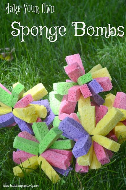 Make Your Own Sponge Bombs, sponge bomb DIY, Sponge Bombs, how to make your own sponge bombs, Fun water games for kids, DIY water games, backyard games for kids, DIY sponge bombs