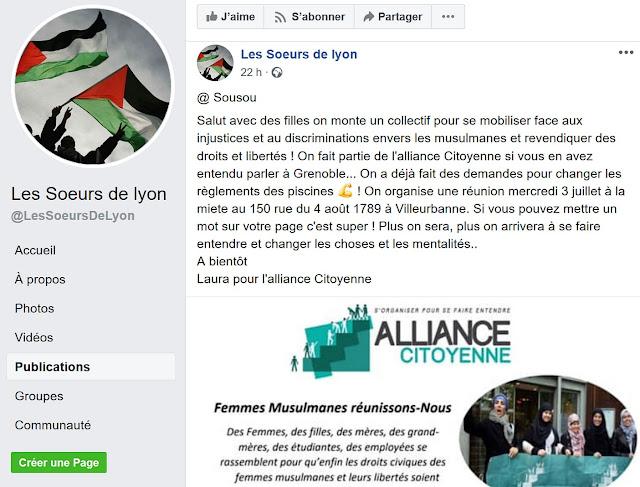 """Publication Facebook des """"soeurs de lyon"""" du 30 juin 2019"""