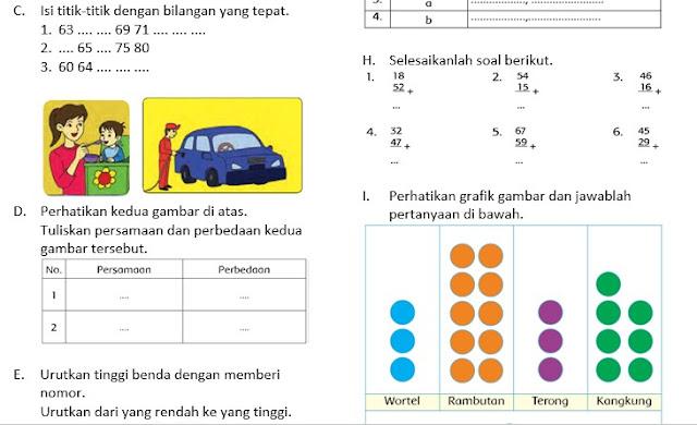 Soal UTS Kelas 1 Semester 2 Kurikulum 2013 Revisi dan Kunci Jawaban
