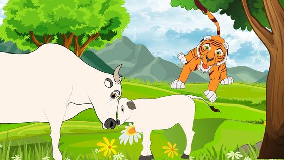 Motivational Story Cow survived from tiger in this way-hindi-story-for-kids-www.kaise-hoga.com