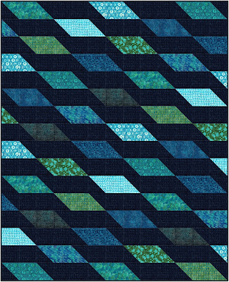 Rockslide quilt pattern in Just My Type fabrics by Island Batik