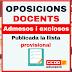 Llista provisional d'admesos i exclosos a les oposicions docents