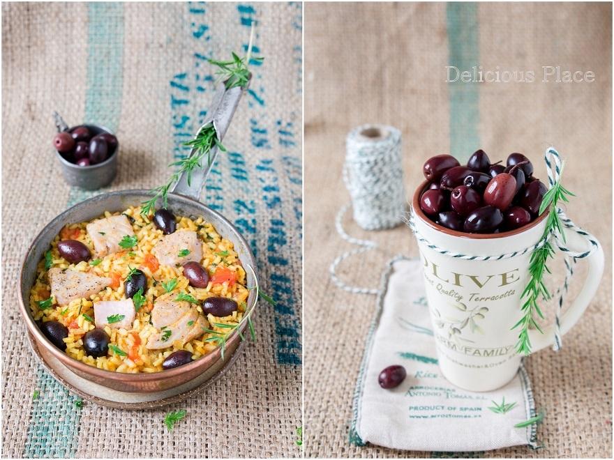 Paella z tuńczykiem i oliwkami