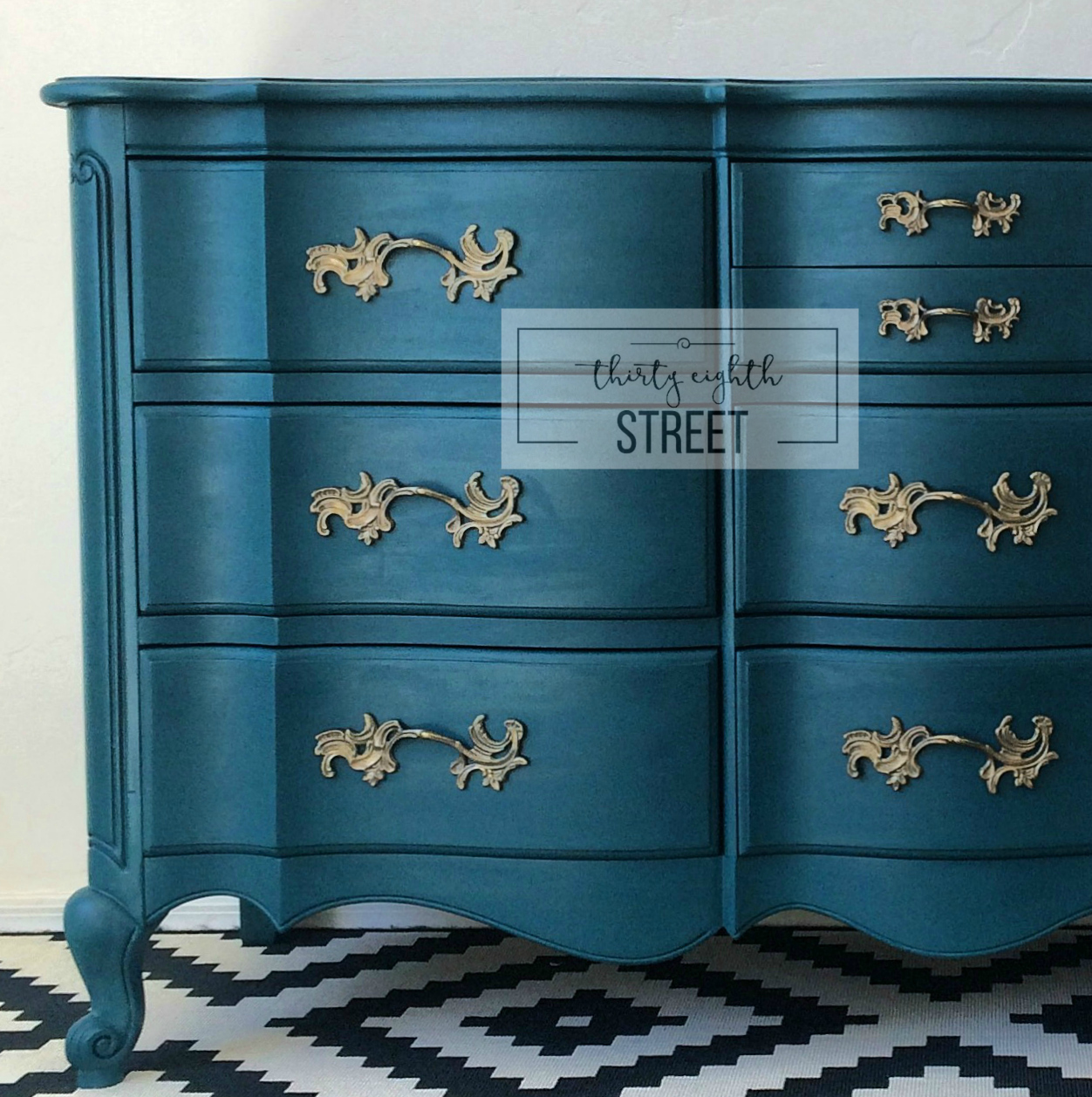 Painted peacock blue dresser makeover thirty eighth street Images of painted furniture