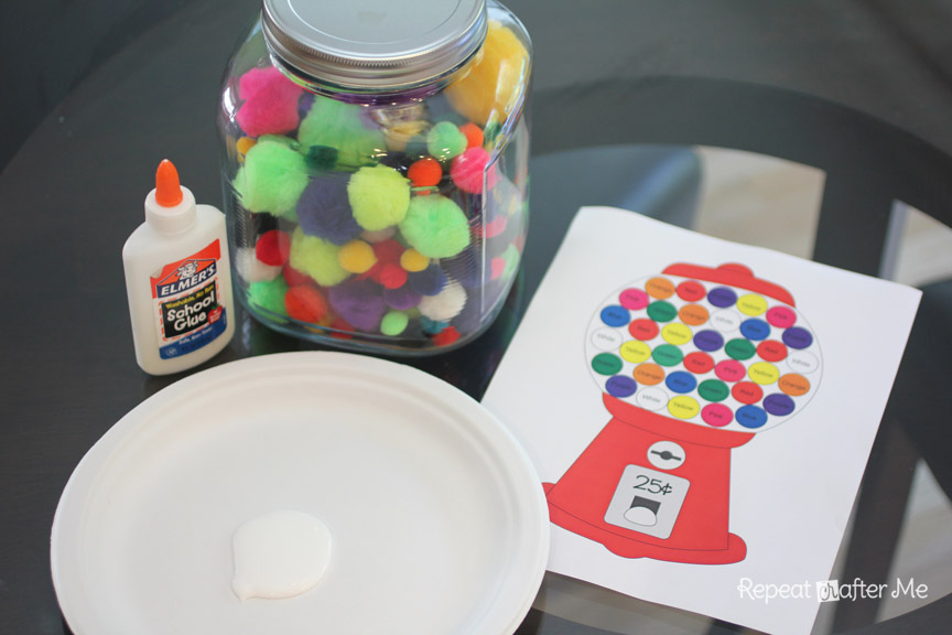 Gumball machine color matching with craft pom poms repeat crafter me gumball machine color matching with craft pom poms pronofoot35fo Images