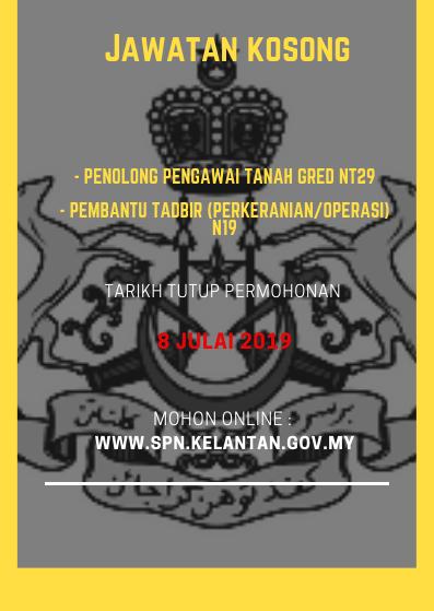Jawatan Kosong Pelbagai Jawatan di Suruhanjaya Perkhidmatan Negeri Kelantan 2019