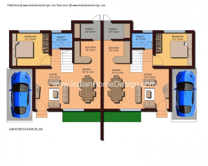 Modern Twin House Plans of sqft 3 Bedroom Home