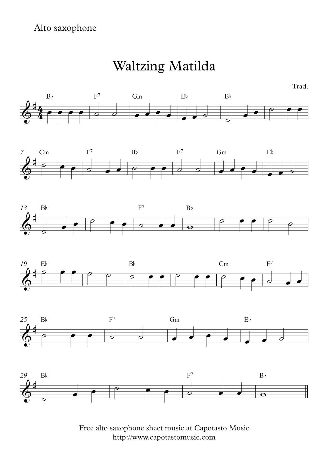 Alto Saxophone Sheet Music Easy