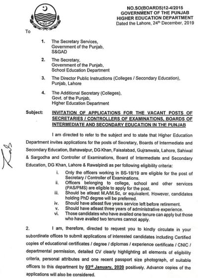 Punjab Board Higher Education Department