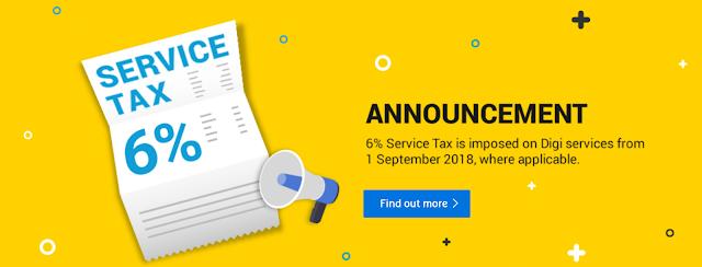SST 6% Untuk semua telco bermula 1 September 2018