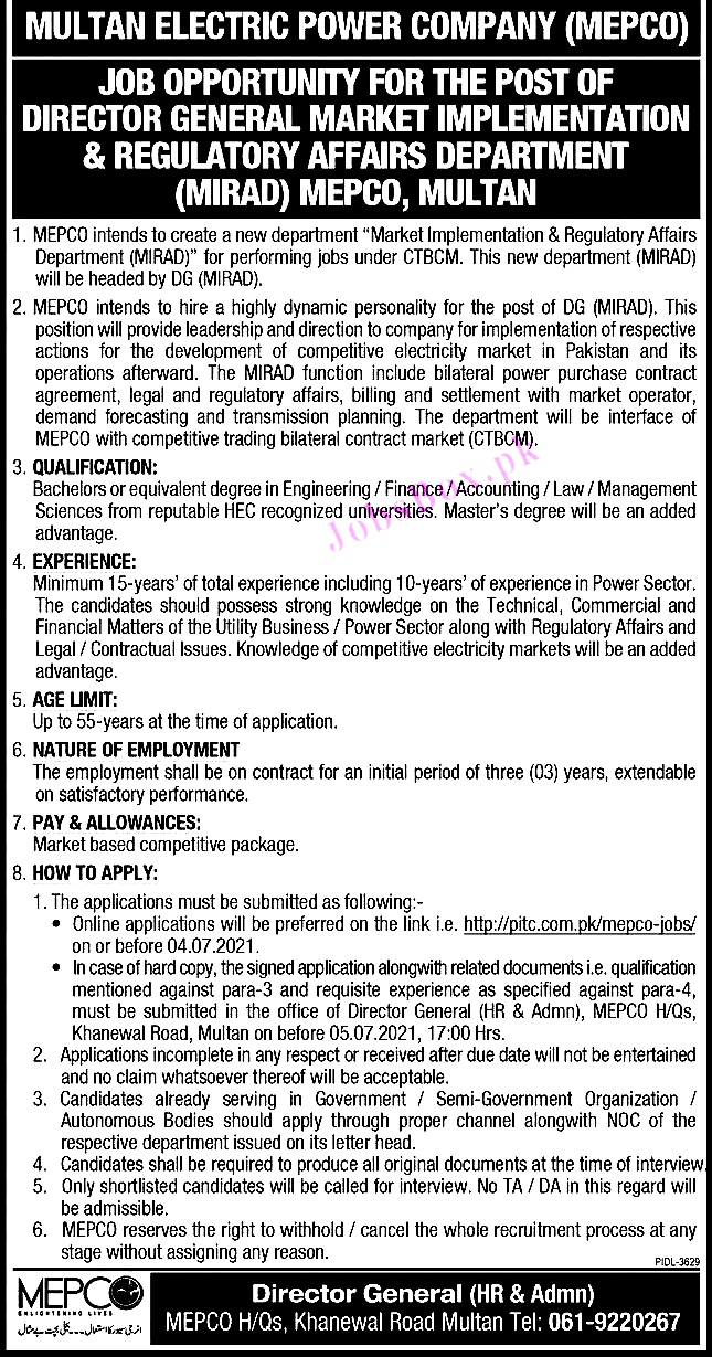 New Jobs in Multan Electric Power Company MEPCO 2021