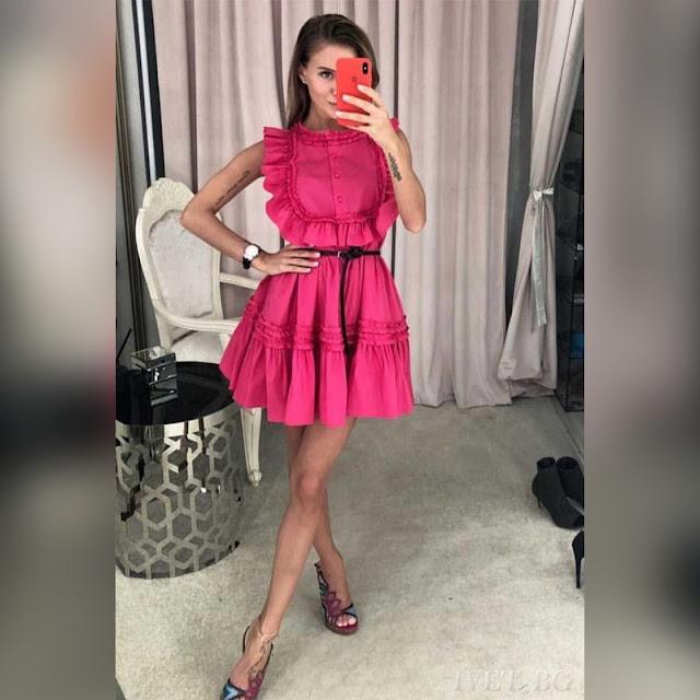 Αμάνικο κοντό φούξια φόρεμα ANETA FUCHSIA