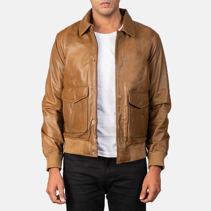 Coffmen Olive Brown Leather Bomber Jacket
