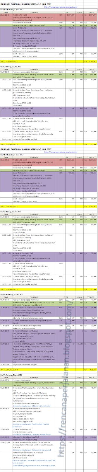 Itinerary Liburan Ke Bangkok Pattaya Hua Hin Dalam 5 Hari