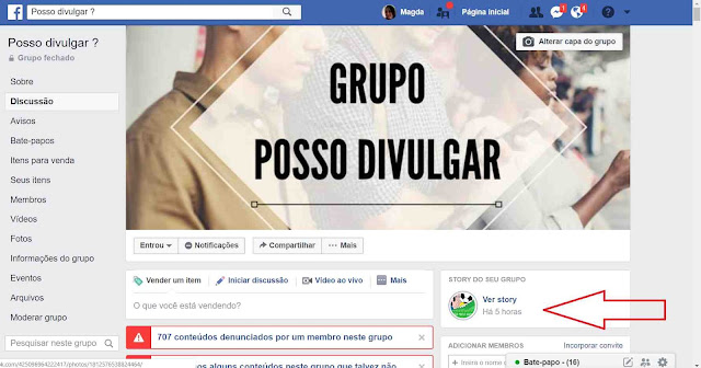 Facebook: Grupo Posso Divulgar com stories