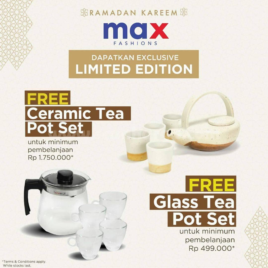 MAX FASHION Promo Free Ceramic Glass Tea Pot Set Limited Edition
