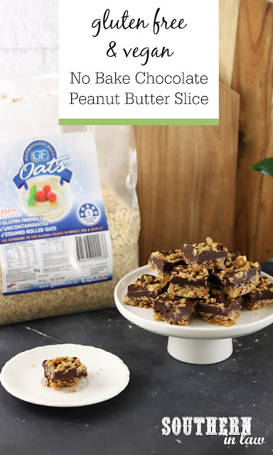 No Bake Chocolate Peanut Butter Oat Slice Recipe - gluten free, vegan, no bake dessert recipe