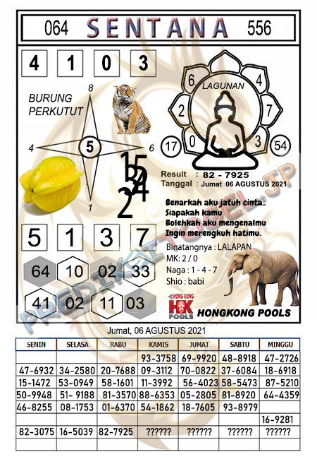 Syair Sentana HK Jumat 06-08-2021