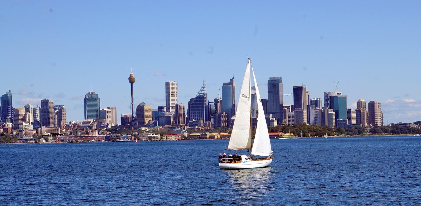 sailing through Sydney harbour
