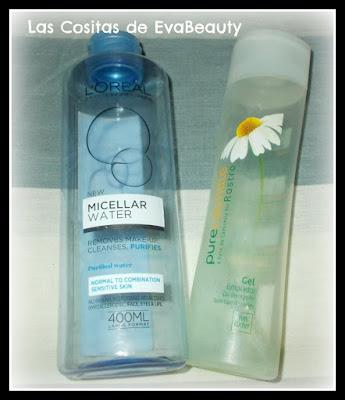 agua micelar loreal y gel limpiador camomila yves rocher