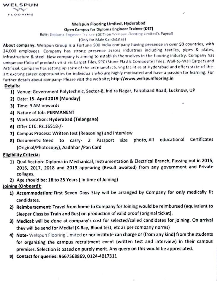 Diploma Engineer Bharti Company Welspun Flooring Limited Hyderabad Iti And Diploma Jobs
