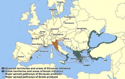 Territori etruschi e principali canali di diffusione delle rotte commerciali etrusche.