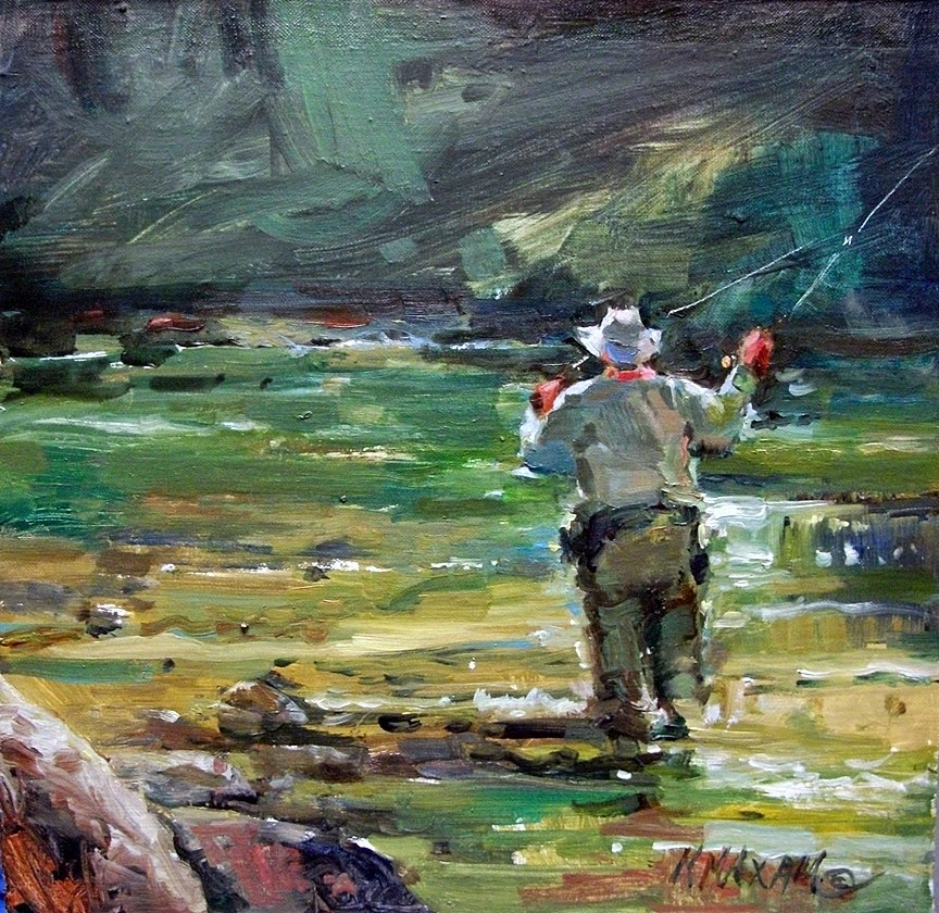 Mary maxam paintings above avery fly fishing on the for Fly fishing art