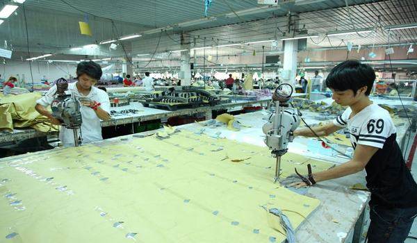 Cutting department in apparel industry