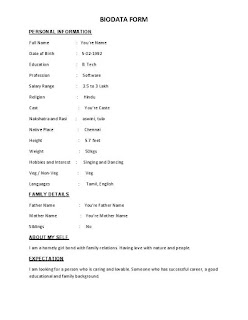 BIODATA From For Marriage Sample