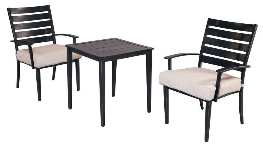 Marshall 3 Piece Patio Bistro Set With Textured Silver Pebble Cushions A Steal 349 Sold In Store Only The Home Depot Call For Availability