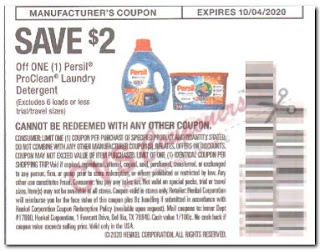 """$2.00/1 Persil ProClean Laundry Detergent Coupon from """"RetailMeNot"""" insert week of 9/20/20."""