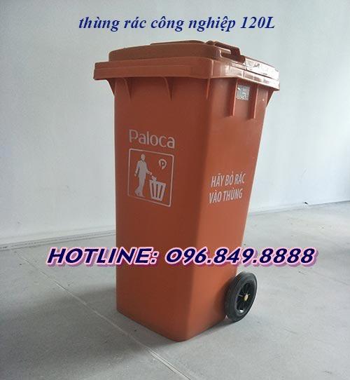 Thùng rác 120l màu cam