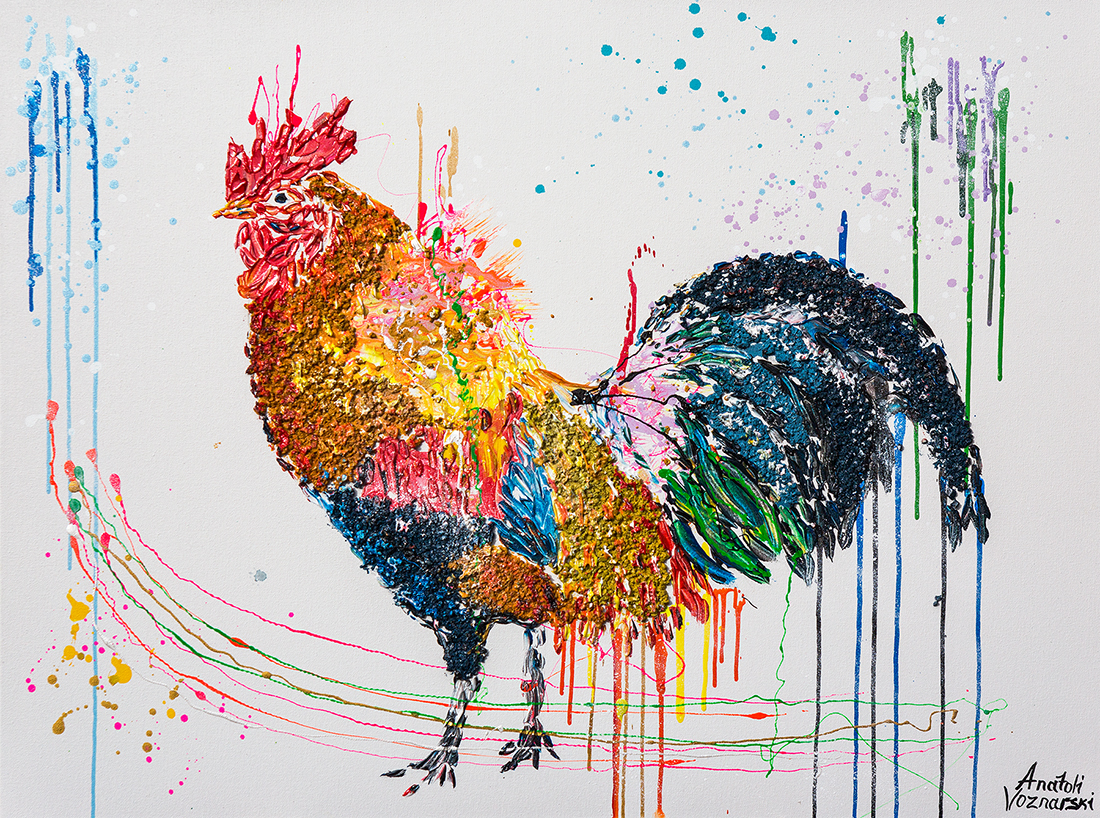 rooster  acrylic painting, rooster dot, heavy textured rooster painting, mixed rooster art, unique rooster painting on canvas, anatoli rooster, anatoli voznarski , thick layers rooster painting, signature rooster painting, animal painting, office painting