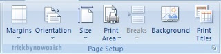Page Layout Tab Microsoft Excel 2007