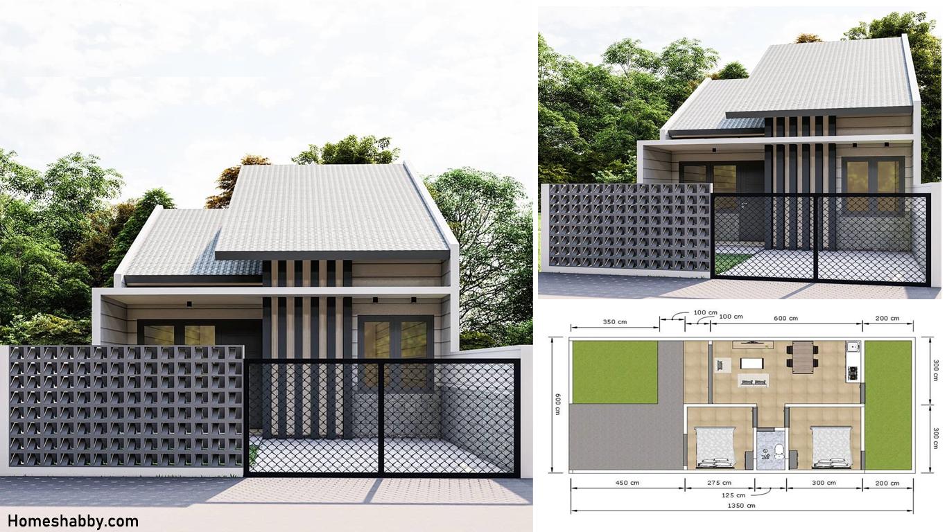 Desain Dan Denah Rumah Mungil Luas Bangunan 6 X 9 M 3 Kamar Tidur Dengan Pagar Roster Unik Homeshabby Com Design Home Plans Home Decorating And Interior Design