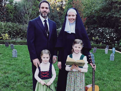 "Jimmie Johnson, wife Chandra and their two daughters, Genevieve and Lydia, dressed up as the von Trapp Family from ""The Sound of Music."""