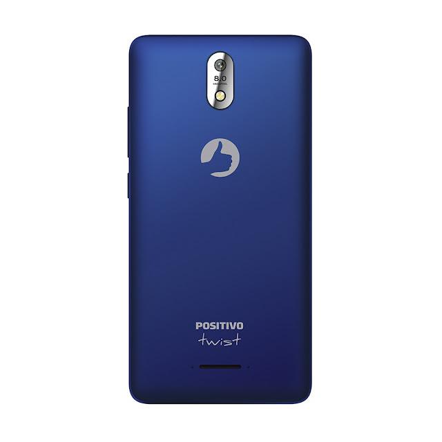 """Smartphone Positivo Twist 4G S520 Azul com Dual Chip, Tela 5"""", Android 6.0, Câmera 8MP, 4G, Wi-Fi, Bluetooth e Processador Quad-Core de 1.0 Ghz"""