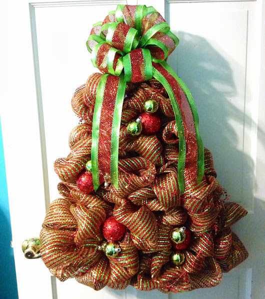 "Holiday Deco Mesh - Red & Lime Green, ""Christmas Tree"" Wreath - Tangled Wreaths ™"