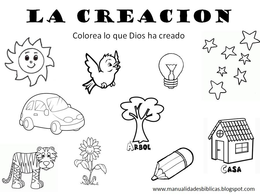 El Primer Dia De La Creacion Dibujos Biblicos Para Colorear