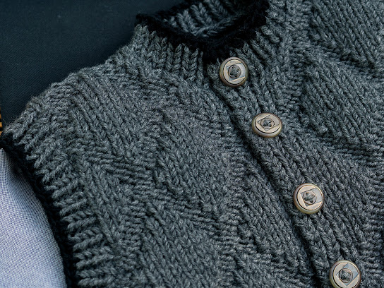 Hebden Gilet Jacket by Moira Ravenscroft, Wyndlestraw Designs