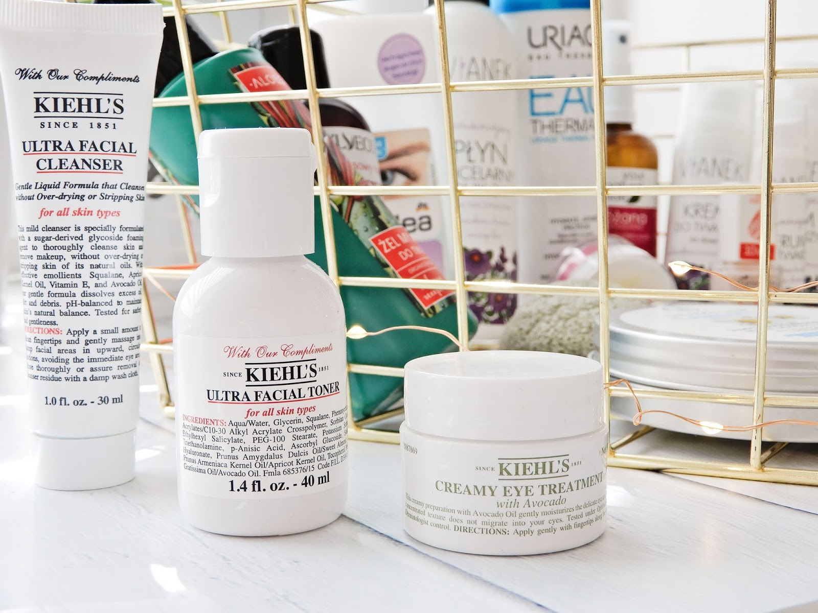 Kiehl's Ultra Facial Cleanser, Kiehl's Ultra Facial Toner, Kiehl's Creamy Eye Treatment with Avocado,