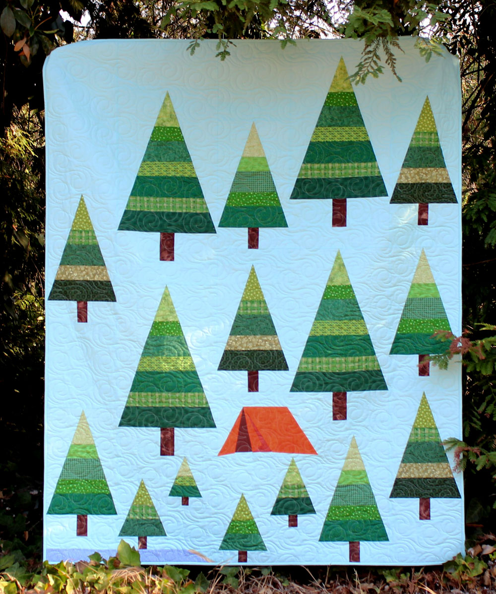 CAMPING QUILT-TENT-TREES-LAKE-MODERN QUILT-LAP QUILT