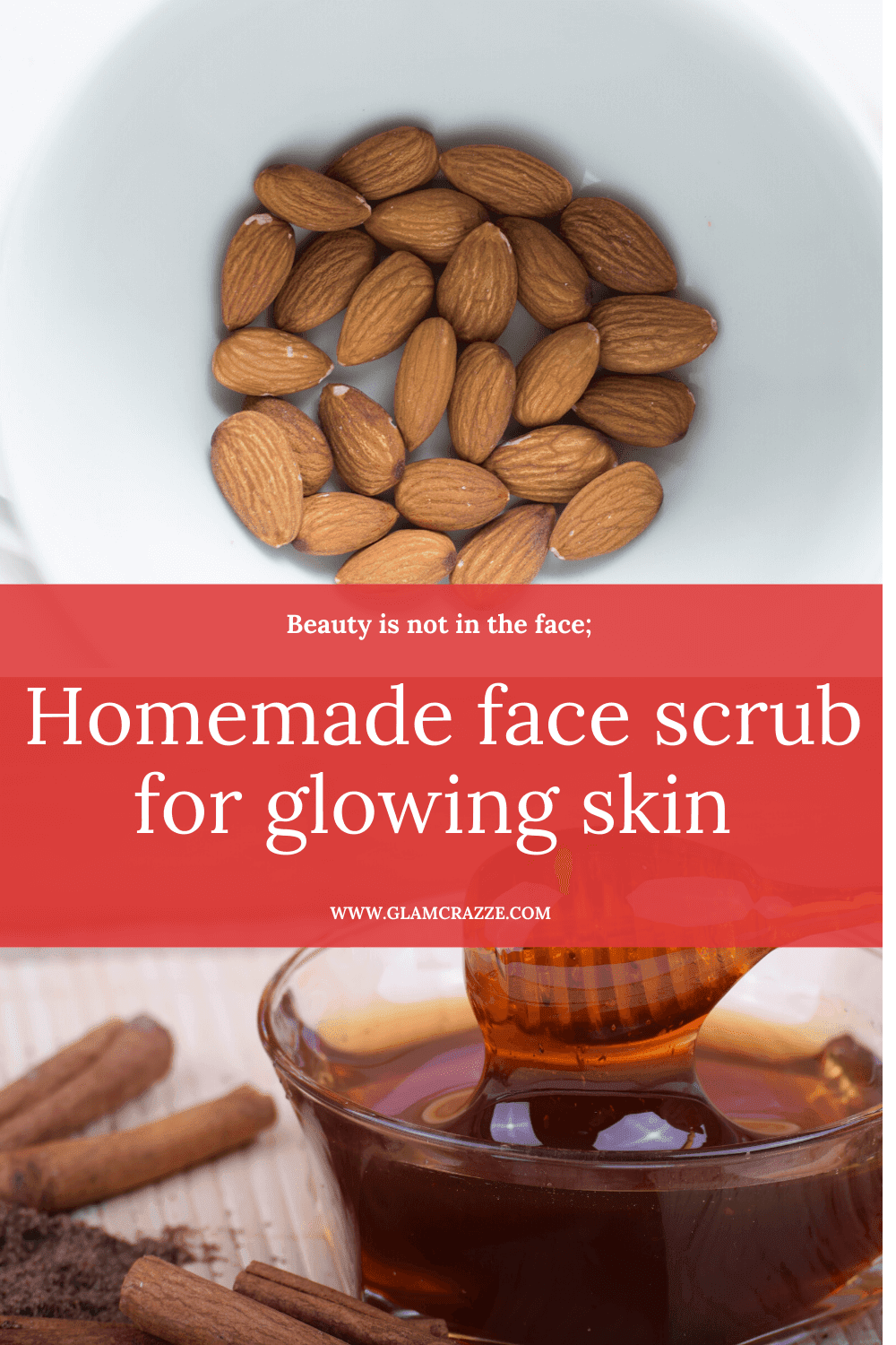 Homemade almond face scrub for glowing skin