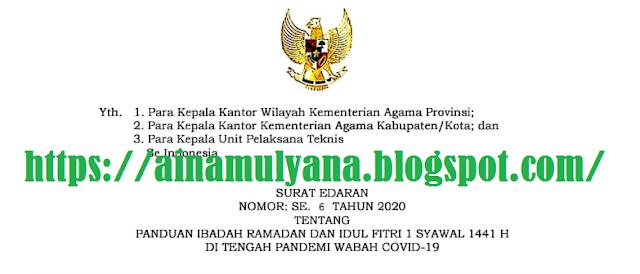 Surat Edaran (SE) Menteri Agama Nomor 6 Tahun 2020