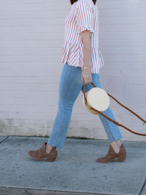 style on a budget, spring style, north carolina blogger, mom style, striped peplum top, round straw bag, best jeans for moms