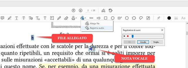 aggiungere nota vocale e file ai pdf