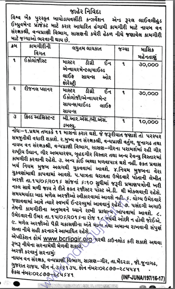 BCRLI Project,Gir Recruitment for Various Posts 2016